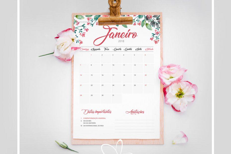 Planner Gratuito para imprimir e se organizar em 2018!Download Grátis de Planner