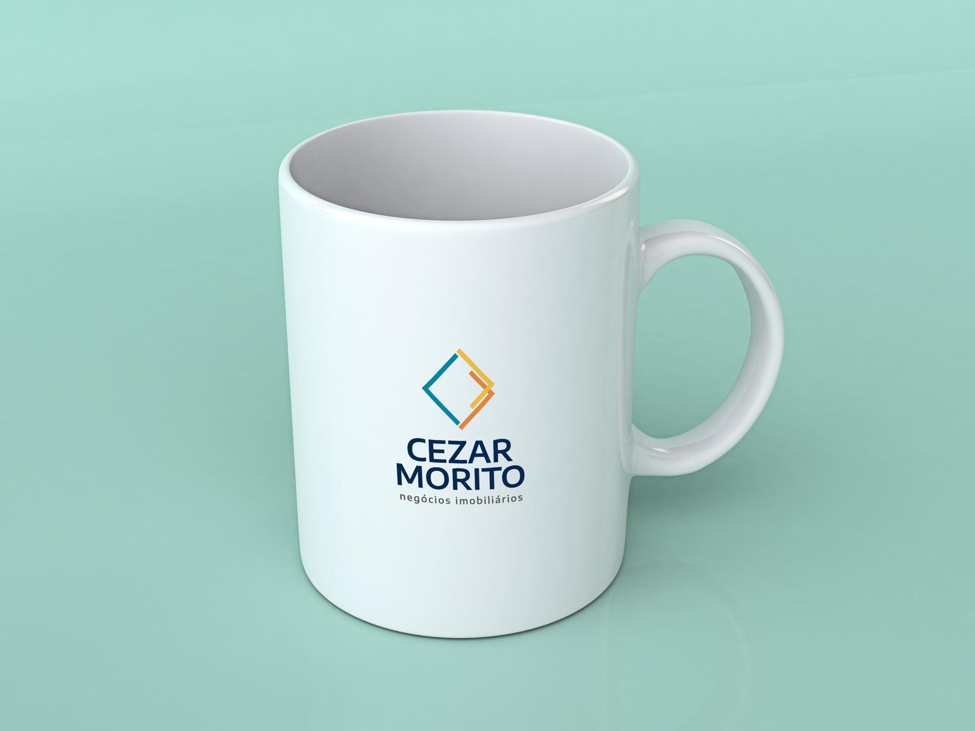 Cezar Morito (corretor de imóveis) - Logotipo aplicado em caneca