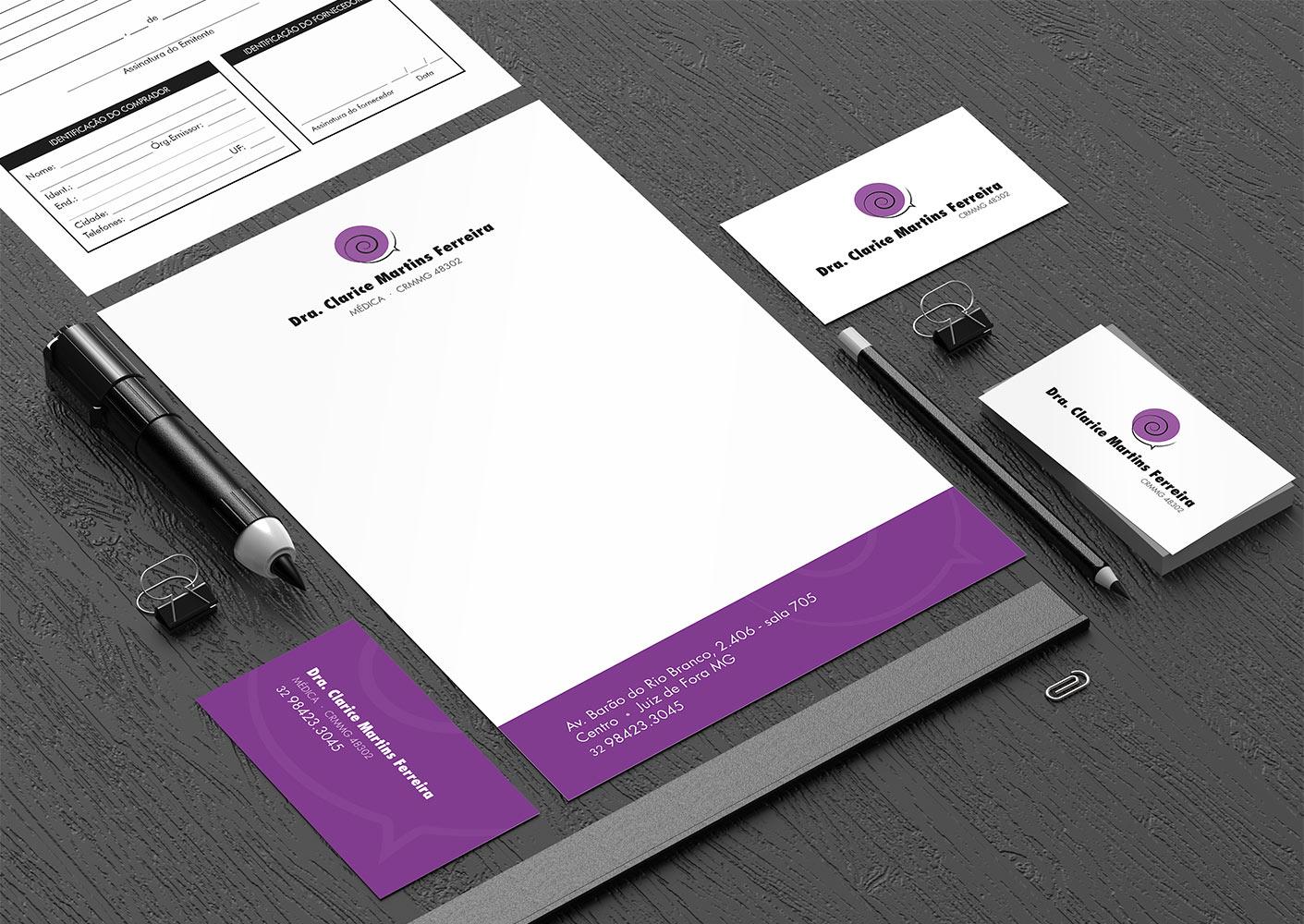 Dra Clarice Ferreira (médica) - Logo + Cartão de Visitas + Receituário