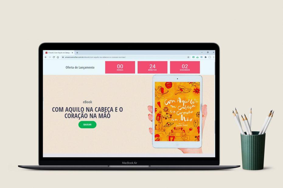 """Landing Page - Ebook """"Com Aquilo na Cabeça e o Coração na Mão"""" (Jussara Hadadd)"""