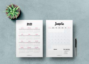 Planner 2021 para Baixar (Design Minimalista) - Planner Grátis e Planner Completo