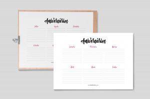Planner 2021 para Baixar (Design Minimalista) Planner Aniversários